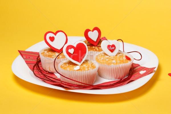Valentin nap muffinok fehér tányér piros szívek Stock fotó © mrakor