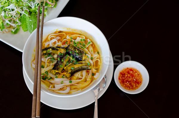 угорь изолированный черный продовольствие обеда Сток-фото © mroz