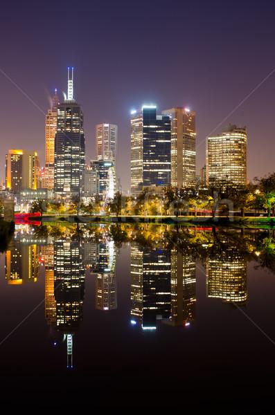 Perfeito reflexão Melbourne água edifício Foto stock © mroz