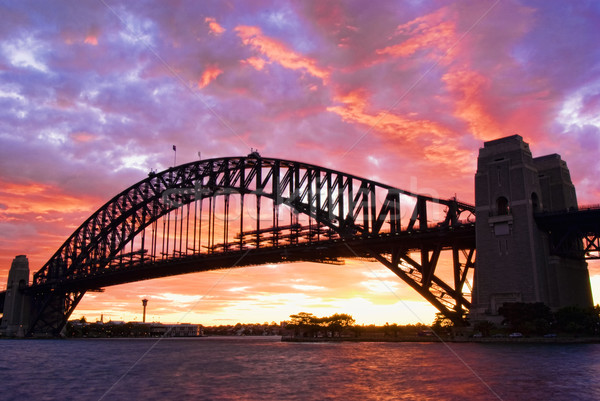Sydney haven brug schemering water zonsondergang Stockfoto © mroz