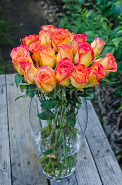 Roses Bunch in Vase Stock photo © mroz