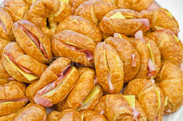 ветчиной сыра круассаны пластина питание событиях Сток-фото © mroz