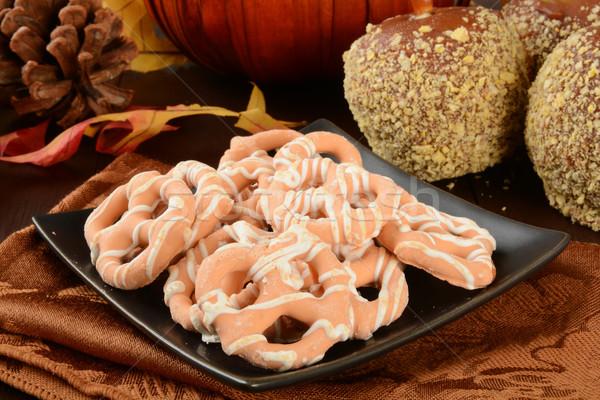 Dynia pie precelki karmel jabłka wakacje Zdjęcia stock © MSPhotographic
