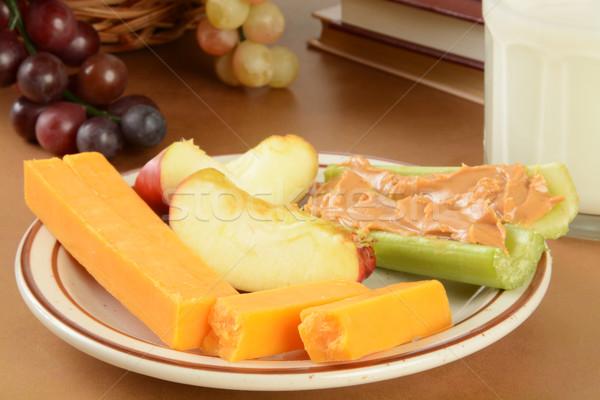 Saudável escolas prato queijo aipo Foto stock © MSPhotographic