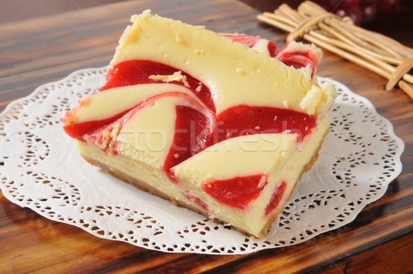 Cheesecake with strawberry swirls Stock photo © MSPhotographic