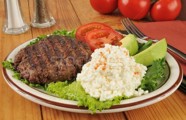 Egészséges étrend étel grillezett hamburger túró avokádó Stock fotó © MSPhotographic