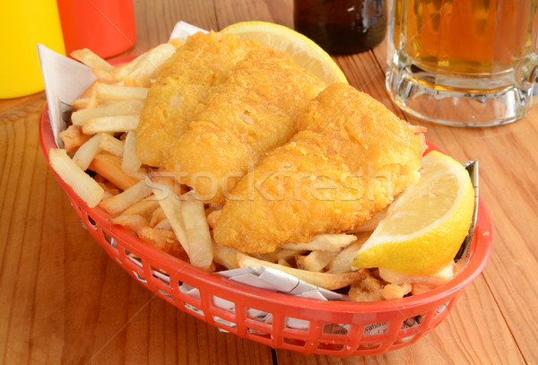 Fish and fries on newspaper Stock photo © MSPhotographic