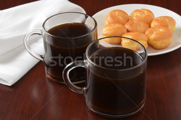 Coffee and cream puffs Stock photo © MSPhotographic