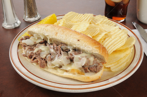 Philly cheese steak sandwich with chips Stock photo © MSPhotographic