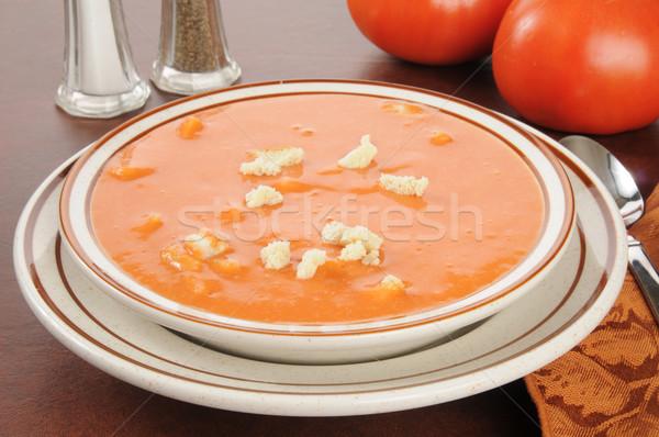 Zupa pomidorowa puchar żywności czerwony łyżka Zdjęcia stock © MSPhotographic