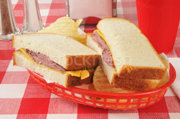 roast beef and cheese sandwich Stock photo © MSPhotographic