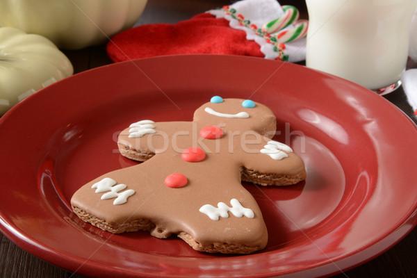 Gingerbread man kurabiye şeker cam süt gıda Stok fotoğraf © MSPhotographic