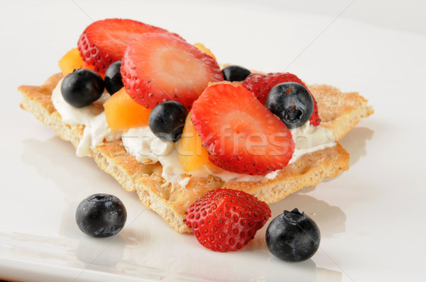 Fruit and cream cheese on sesame flatbread Stock photo © MSPhotographic