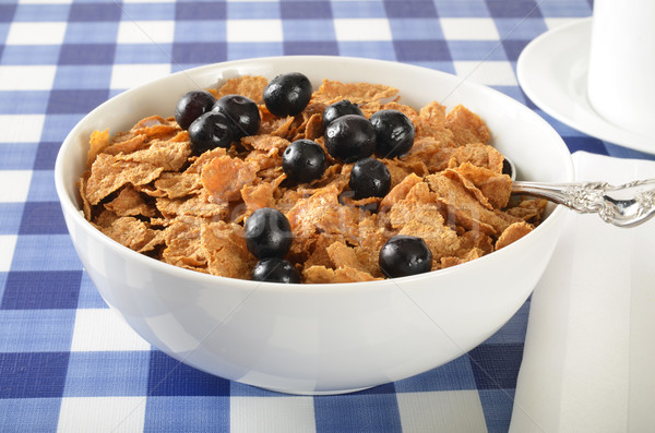 Bowl of bran and corn flakes with blueberries Stock photo © MSPhotographic