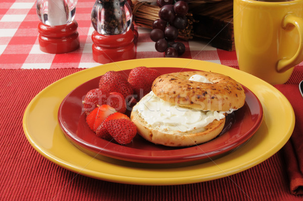 Bagel with cream cheese and strawberries Stock photo © MSPhotographic