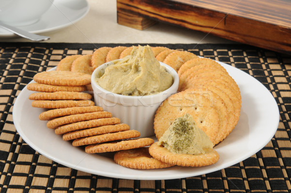Hummus on crackers Stock photo © MSPhotographic