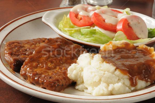 ディナー クローズアップ グレービー サラダ 水 ストックフォト © MSPhotographic
