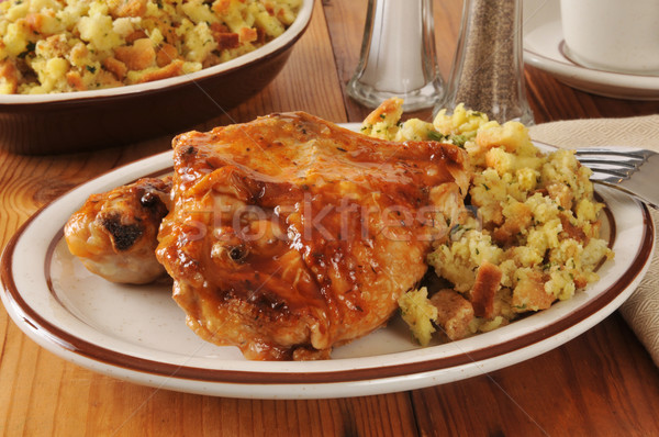 Barbecued chicken and stuffing Stock photo © MSPhotographic
