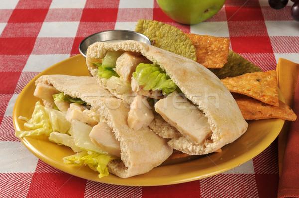 鶏 シーザー ピタ麻 サンドイッチ パン 野菜 ストックフォト © MSPhotographic