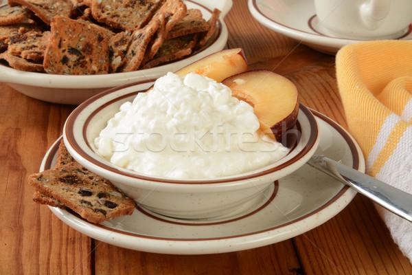 Süzme peynir erik kepçe meyve somun Stok fotoğraf © MSPhotographic