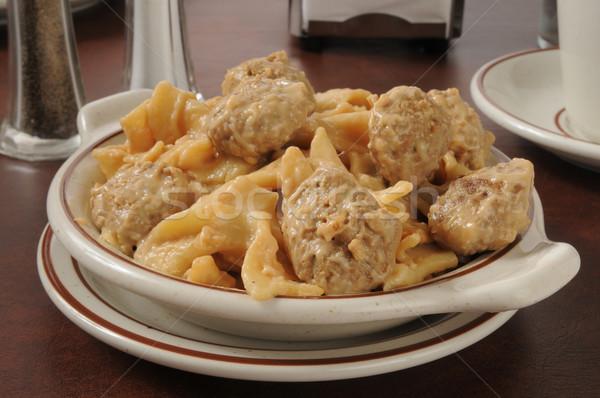 Bowl of swedish meatballs on pasta Stock photo © MSPhotographic