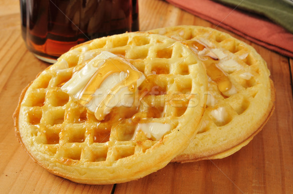 Waffles with maple syrup and butter Stock photo © MSPhotographic