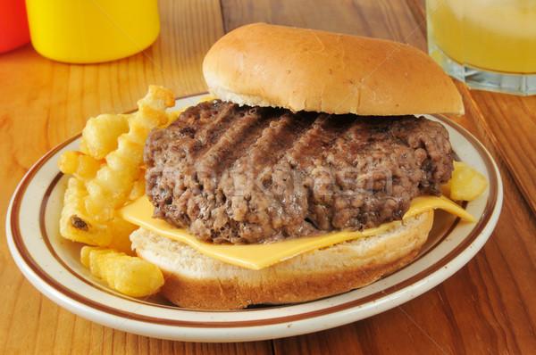 Casa cocido hamburguesa con queso rústico mesa de picnic Foto stock © MSPhotographic