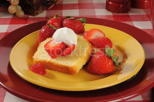 Stock photo: Strawberry shortcake closeup