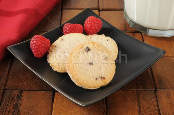 Raspberry shortbread cookies and milk Stock photo © MSPhotographic