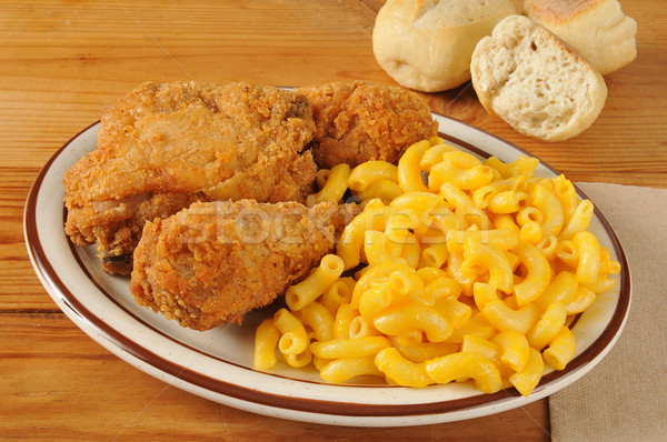 Kip macaroni kaas voedsel vlees Stockfoto © MSPhotographic