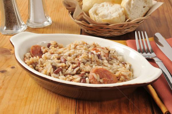 Cajun sosis fasulye pirinç akşam yemeği Stok fotoğraf © MSPhotographic