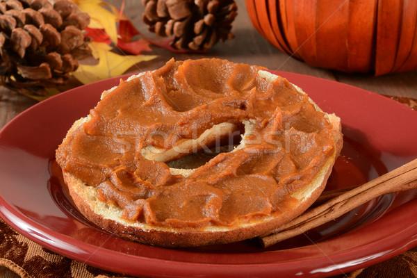 Pumpkin butter on a bagel Stock photo © MSPhotographic
