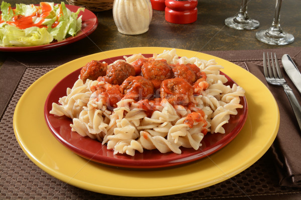 Meatballs and marinara sauce on gluten free pasta Stock photo © MSPhotographic