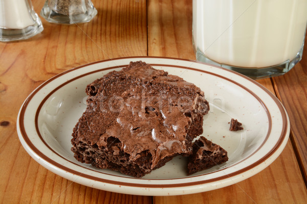 Brownies and milk Stock photo © MSPhotographic