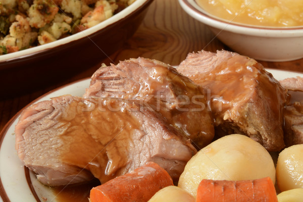 Foto stock: Cerdo · lomo · primer · plano · patatas