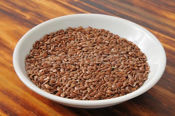 Pequeno tigela linhaça prato semente Foto stock © MSPhotographic