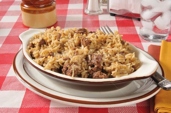Hambúrguer arroz rápido fácil carne comida Foto stock © MSPhotographic