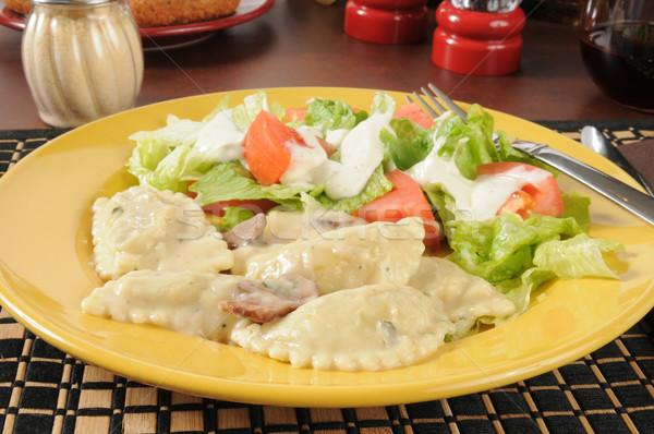 Kip champignon ravioli tuin salade vork Stockfoto © MSPhotographic