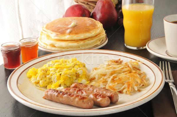 Sausage, egg and pancake breakfast Stock photo © MSPhotographic