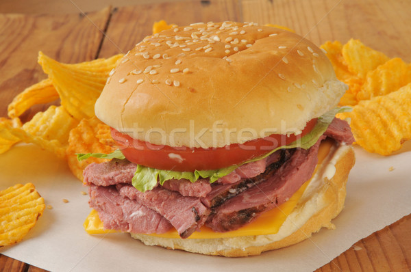 roast beef sandwich on a hamburger bun Stock photo © MSPhotographic