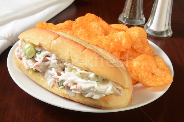 Deniz ürünleri sandviç cips yengeç salata çedar Stok fotoğraf © MSPhotographic