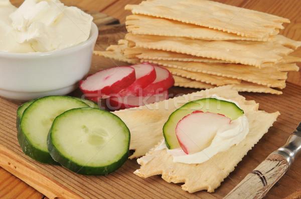 Flatbread crackers with cream cheese Stock photo © MSPhotographic