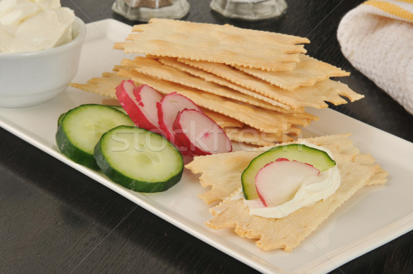 Flatbread crackers with cream cheese and vegetables Stock photo © MSPhotographic