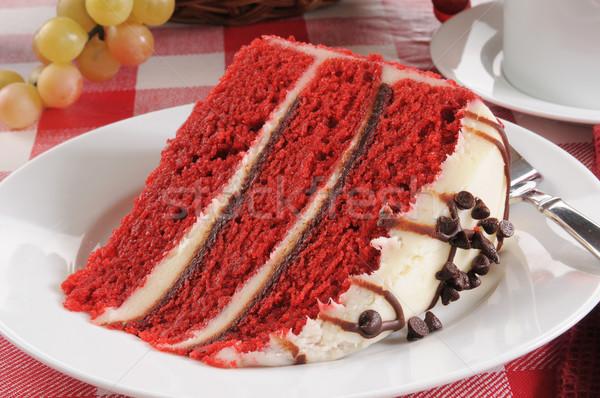 Kırmızı kadife kek dilim çikolata yonga Stok fotoğraf © MSPhotographic