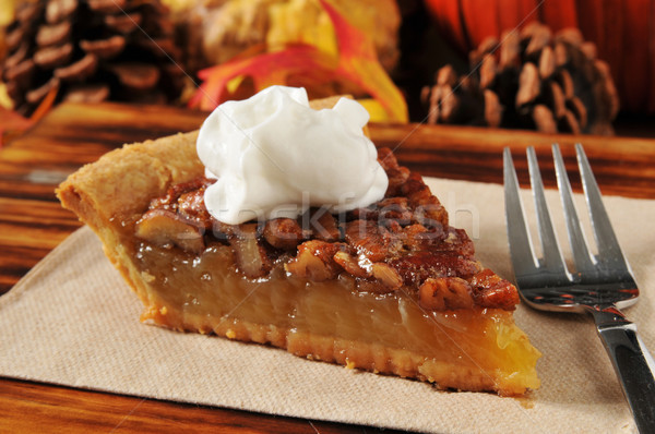 Pecan pie with whipped cream Stock photo © MSPhotographic