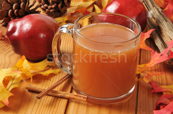 Hot appel cider beker najaar tabel Stockfoto © MSPhotographic