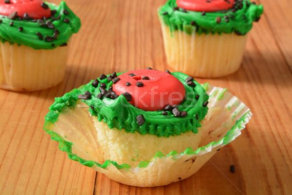 Minitorták citromsárga görögdinnye rusztikus fa asztal édes Stock fotó © MSPhotographic