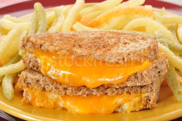 Grillezett sajt szendvics közelkép sültkrumpli vacsora Stock fotó © MSPhotographic