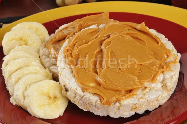 Beurre d'arachide banane sandwich saine riz gâteaux Photo stock © MSPhotographic