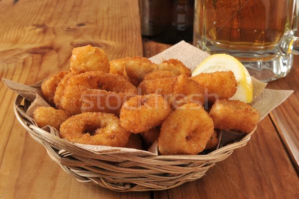 Сток-фото: кольцами · глубокий · жареный · корзины · пива · ресторан